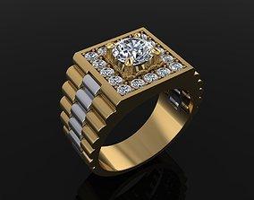 Signet Rolex Link Two tone diamond Ring 3D printable model