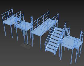 Models of metal stairs 3D asset