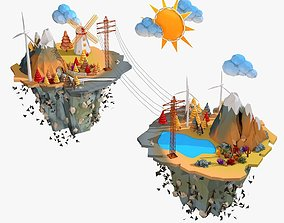 3D Floating Industrial Islands Low Poly