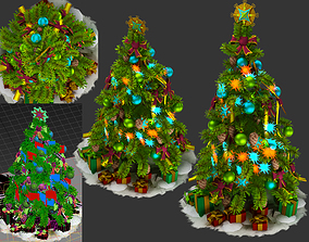 3D model animated Christmas tree nature