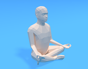 3D model Low Poly Kid Sitting in Yoga Pose