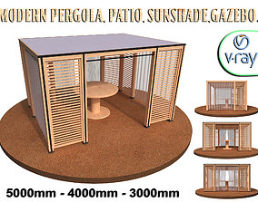 Modern pergalo patio sunshade gazebo 3D model