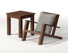 3D Outdoor Adirondack Chair and Side Table