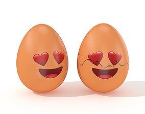 Egg Cracked Emoji N020 3D asset