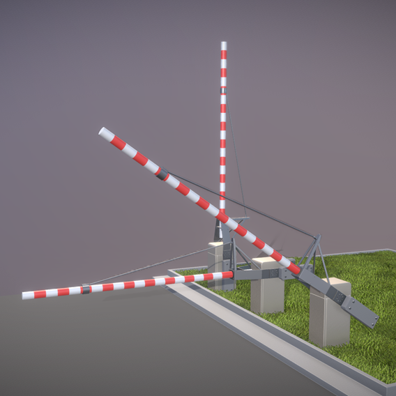 Railroad Barrier 4m High-Poly (Blender-2.91 Eevee)