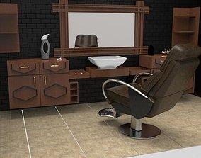 Barber chair 3D asset