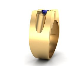 Mens ring with sapphire 3D printable model
