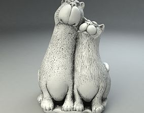 Two Cats Toy Statue 3D