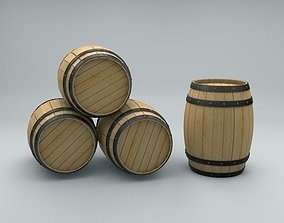 3D asset Wood Barrel with Metal Bands
