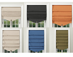 Roman Shades on simple colors 3D