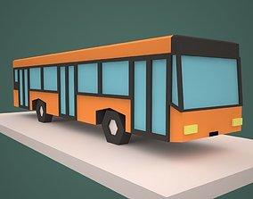 3D asset Low Poly Bus Cartoon style