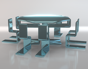 Modern Dining Table And Chairs 3D asset
