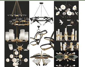 Chandeliers 3d models Collection 10 pieces VR / AR ready