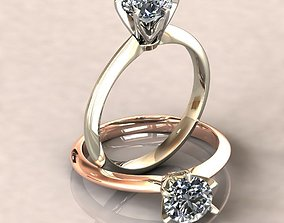Solitaire 1ct Diamond Ring 3D Model -0198