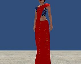 animated Low Poly Women Model With Saree
