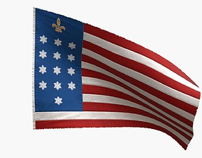 3D model animated US Flag French Alliance Flag 1781-82