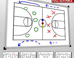 3D asset Sport blackboard tactical low poly