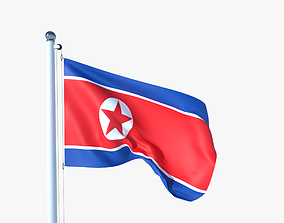 Animated Flag of North Korea 3D asset