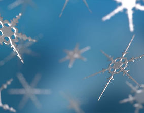 3D model animated 16 Unique Snowflakes