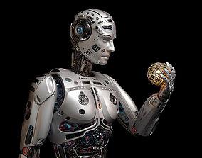Futuristic Robot Man Rigged 3D