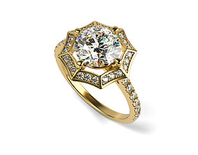 3D print model Octagon Halo Solitaire Ring