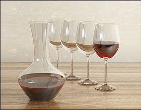 Decanter with wine 3D