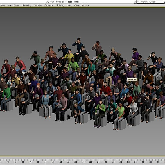 100 low poly sitting people Low-poly 3D model
