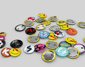 Pin buttons 3D model various-models