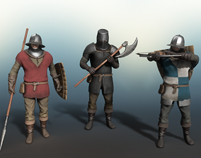 3D asset Medieval Soldier Weapon and Armor Bundle