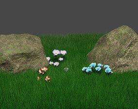Realistic Mossy Rock 3D model