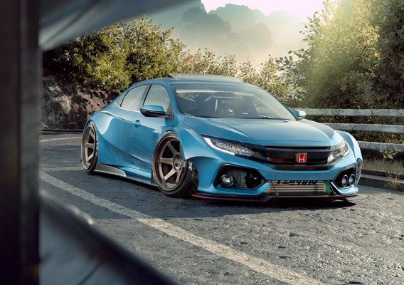 honda civic widebody kit full cgi