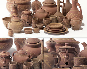 3D model archeology Dishes clay rack n12