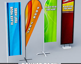 3D model Banner commercial flag stand pack low poly