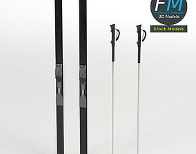 Nordic skis with poles 3D model