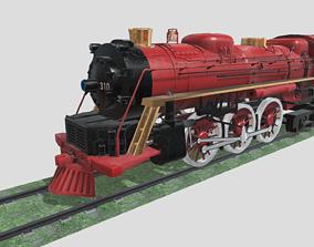 3D asset game-ready Steam Engine Train Wagon