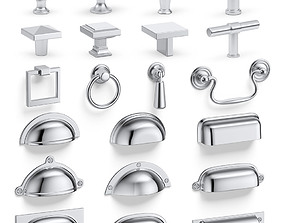 Knobs and cup handles set 3D
