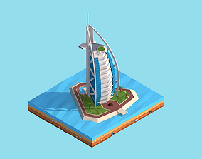 3D asset Cartoon Low Poly Burj Al Arab Jumeirah