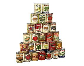 Retro Canned Food 3D model