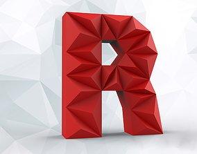 Lowpoly letter R 3D print model