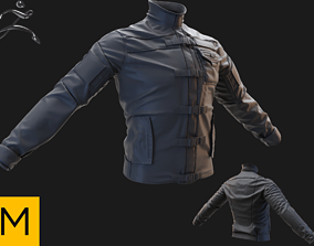 3D model leather Tactical jacket high poly