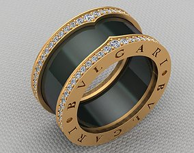Bvlgari Diamond Gold Ceramic Ring 3D printable model