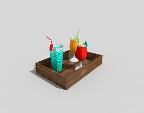 low poly beach drinks 3D model