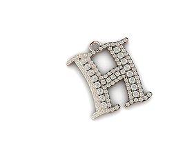 H letter diamond pendant mat day chu H 3D printable model