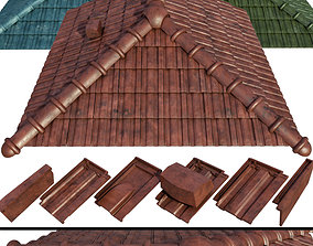 Ceramic tiles and additional elements of the roof 3D model