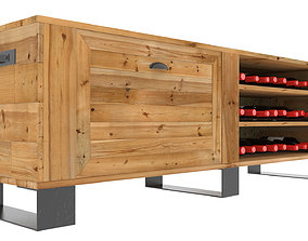 Wooden TV stand with wine rack 3D