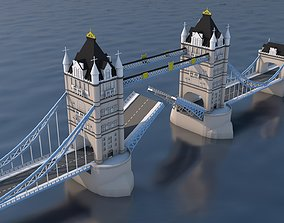 Low Poly London Tower Bridge Landmark 3D model