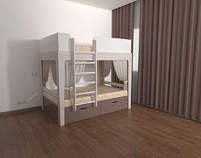 3D model kids bed for children