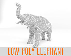 3D model Elephant Low Poly Mammal African Wild Animal