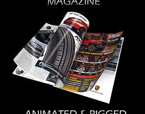 Magazine Opening Rigged Animated 3D model