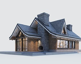 Modern half-timbered house with a residential 3D model